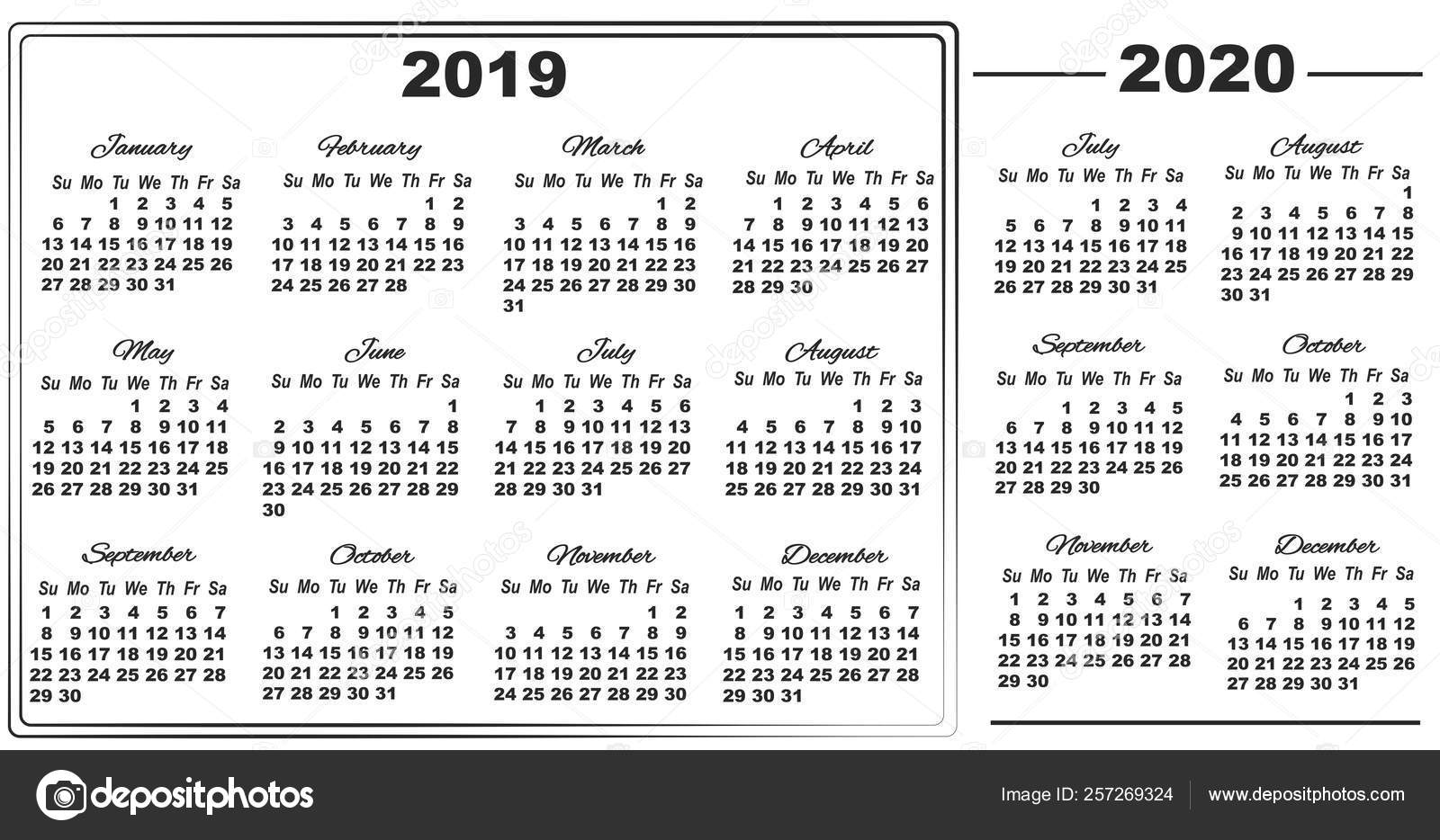2019 calendar and half year 2020 from july to december