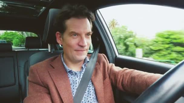 Man driving happy vintage look