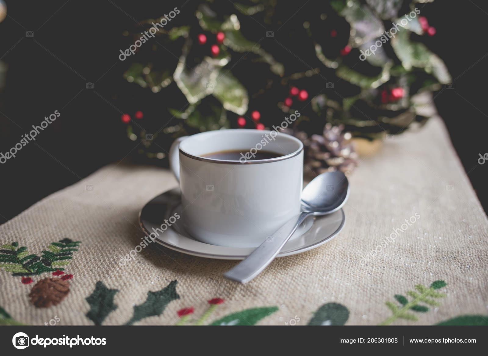 Coffee Christmas Morning.Cup Coffee Christmas Morning Stock Photo