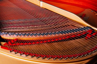 Inside wooden classic grand Piano mechanism with strings and keys details