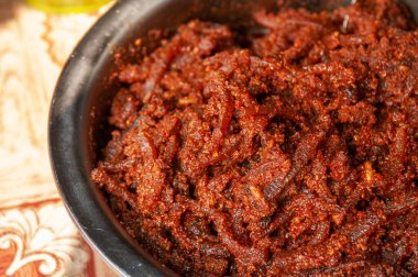 Laos or Thai spicy fermented fish chili paste - Pla Ra Bong or Jeaw Bong with dried buffalo skin Luang Prabang Style -  close up detail