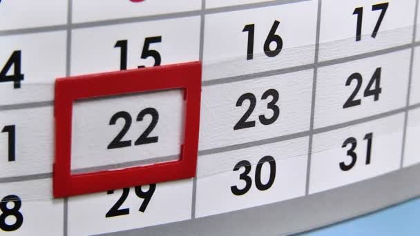 The movement in the calendar on the wall