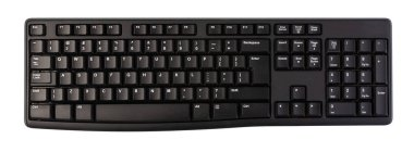 Top view desktop computer keyboard isolated on white background