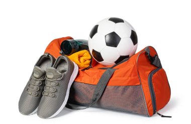 Sports bag with sports equipment Isolated on white background stock vector