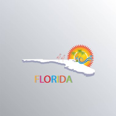 Florida map with sun, trees and waves tropical beaches icon logo vector image
