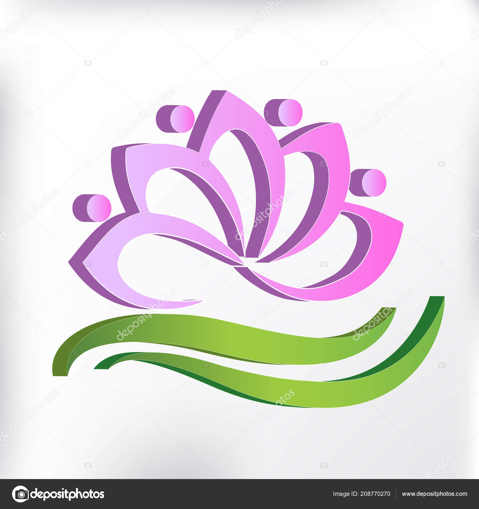 Pink Lotus Flower Spa Massage Symbol Logo Card Stock Vector