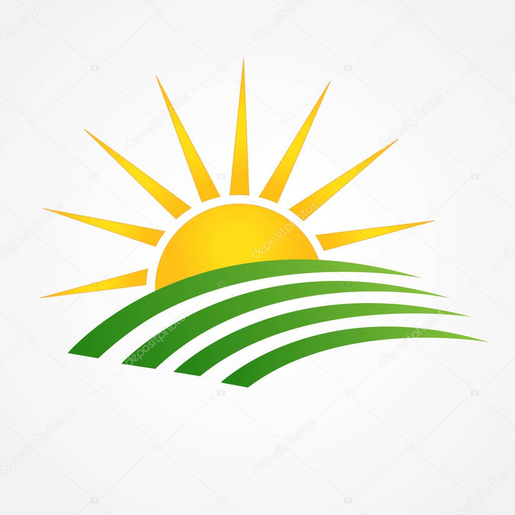Logo sun with green agriculture cultives swooshes line art id business brand icon vector