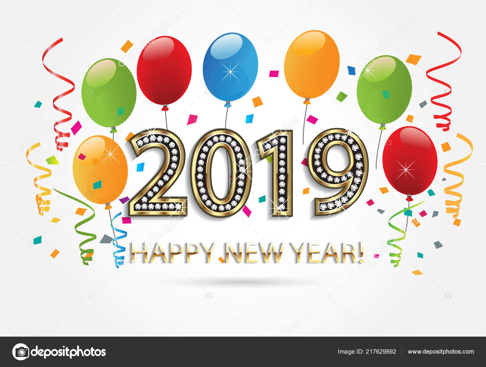Happy New Year 2019 Gold Balloons Confetti Colorful Background