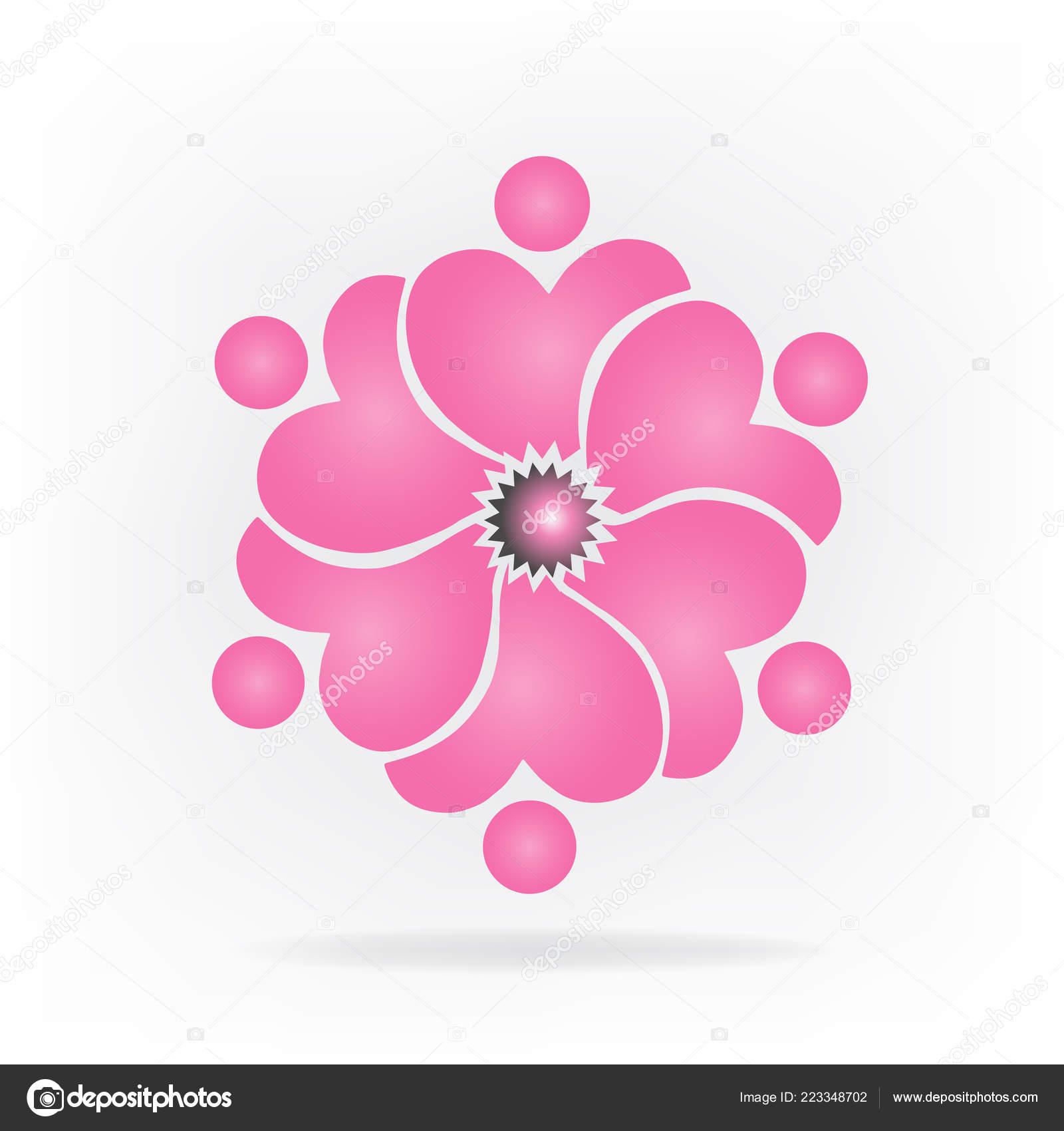 Logo Equipo Flor Corazón Forma Gente Vector Imagen Vector De Stock