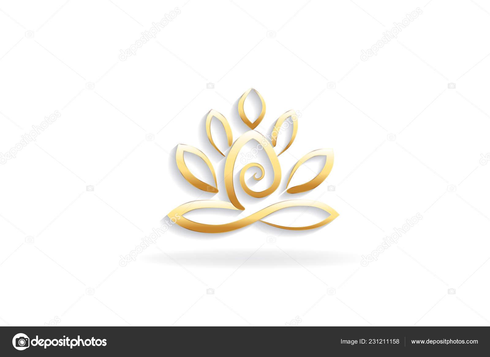 Lotus Flower Yoga Man Logo Symbol Image Stock Vector Glopphy