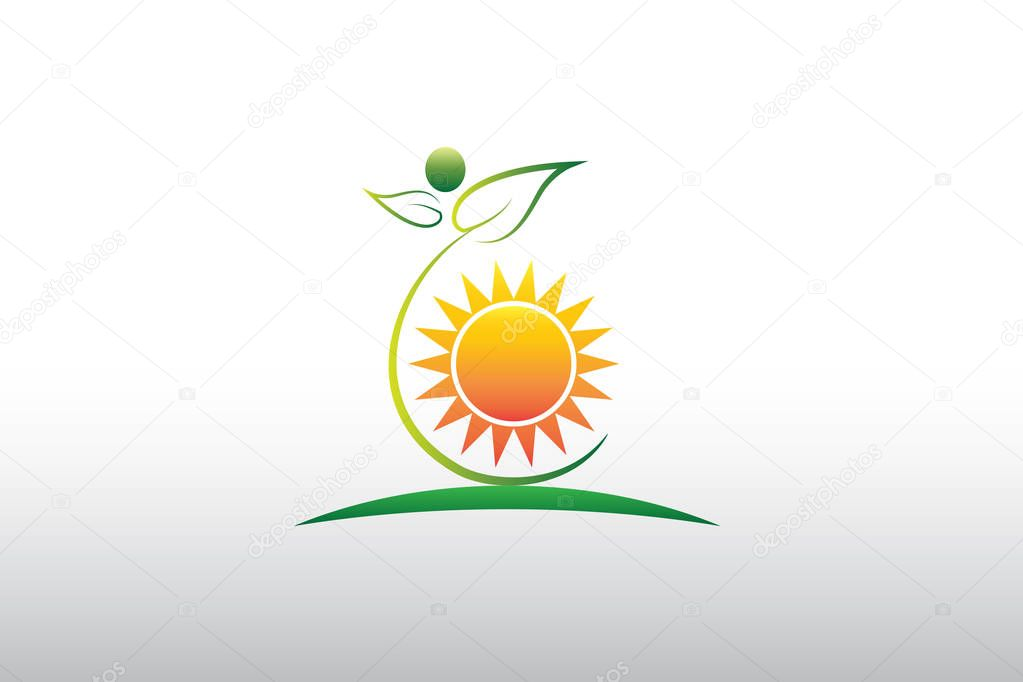 Nature logo healthy green leafs and sun icon vector image