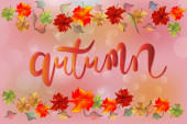 Fotografie Autumn colorful fall leafs colorful season greetings card holidays celebrations welcome fall vector image banner background web render template beautiful handmade text word of autumn