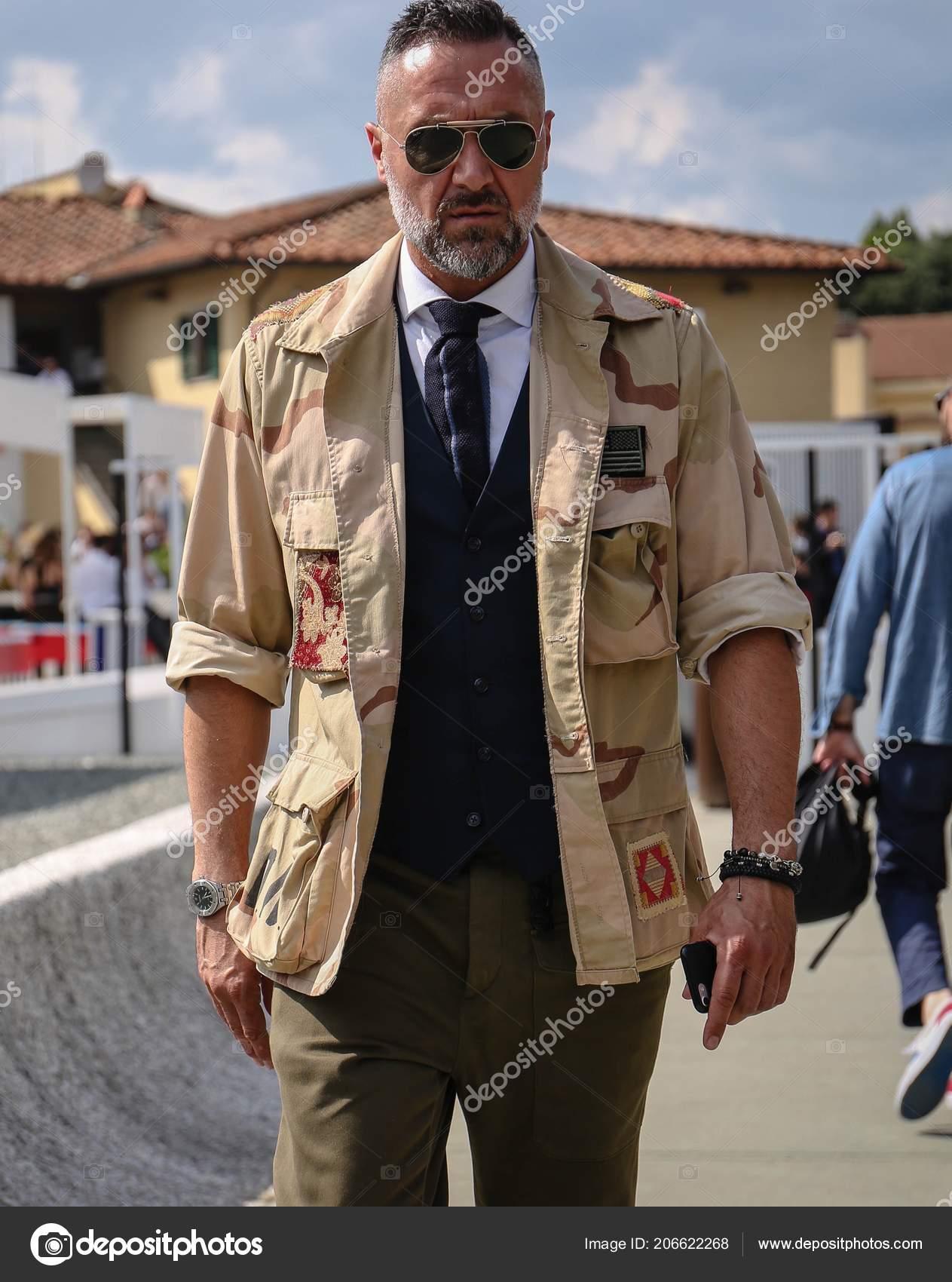 Florence June 2018 Men Street Pitti Stock Editorial Photo