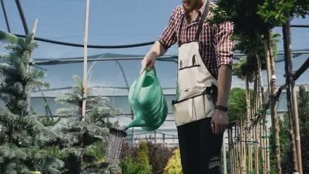 Detail ze zahradního nářadí. Zahradník jde do skleníku, zalévání rostlin ze zelené nálevky. Zahradní centrum dekorativní rostliny a květiny
