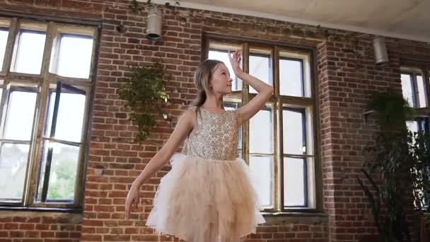 Graceful beautiful girl dancer in tutu-dress performs elements of classical ballet in the loft design Studio. Classic ballet
