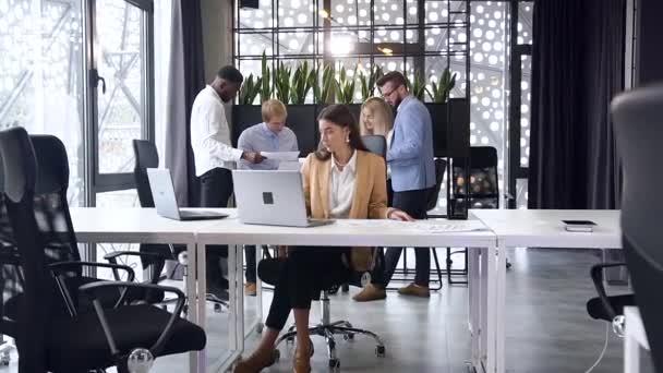 Krásná ohleduplná mladá podnikatelka pracující s počítači na jejím pracovišti na pozadí jejích smíšených závodů obchodní spolupracovníci