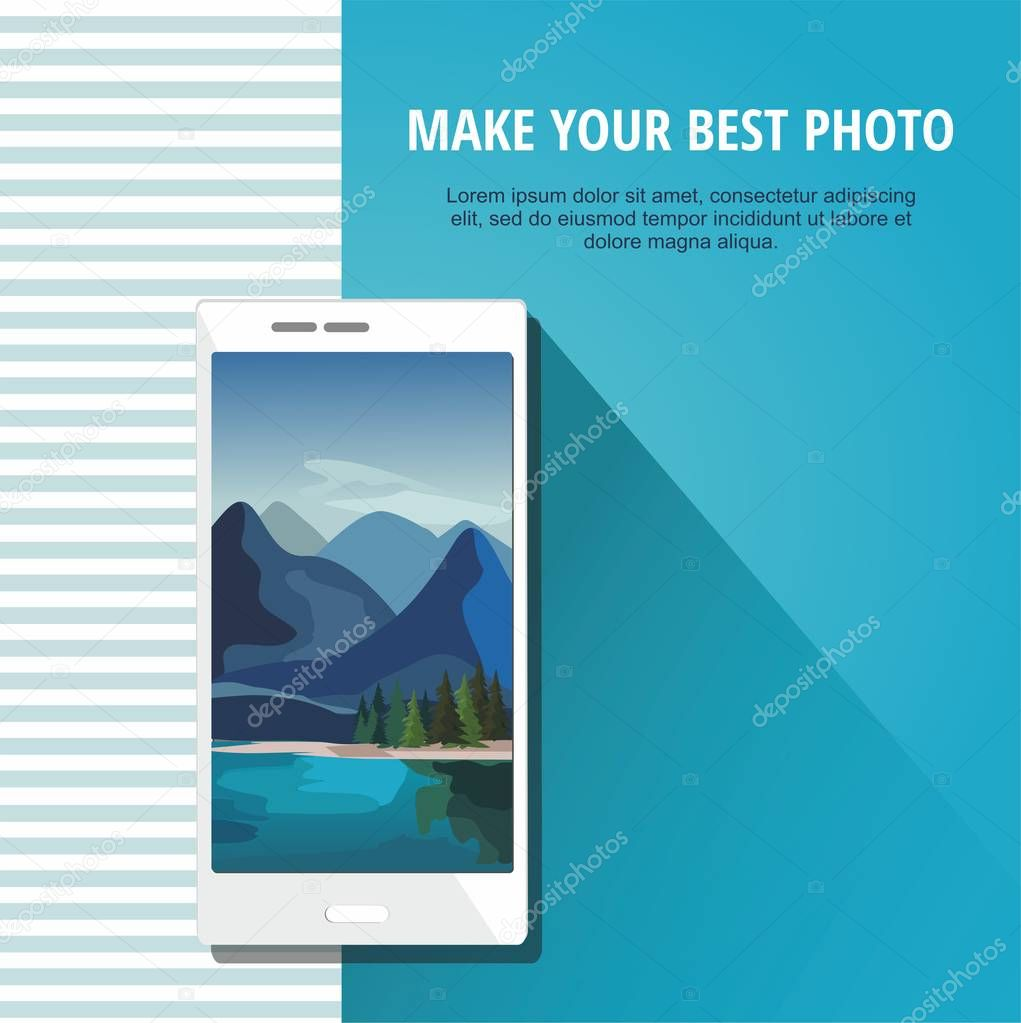 Photo of nature landscape with smartphone Isolated on blue background.