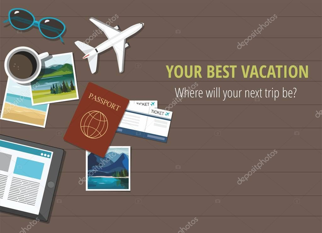 Plane model with travel accessories, on wooden background. Travel concept.