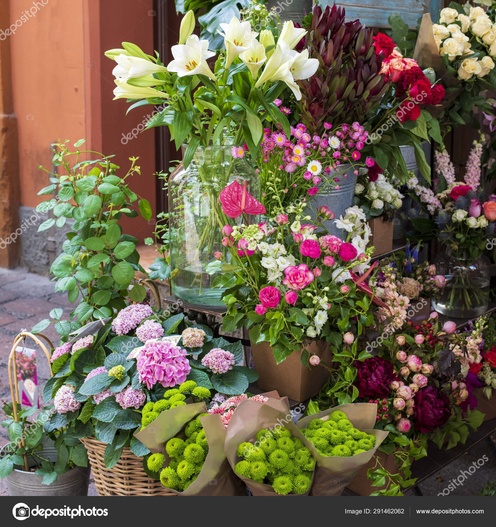 Variety Flowers Street Exhibition Flower Shop Italy Beautiful