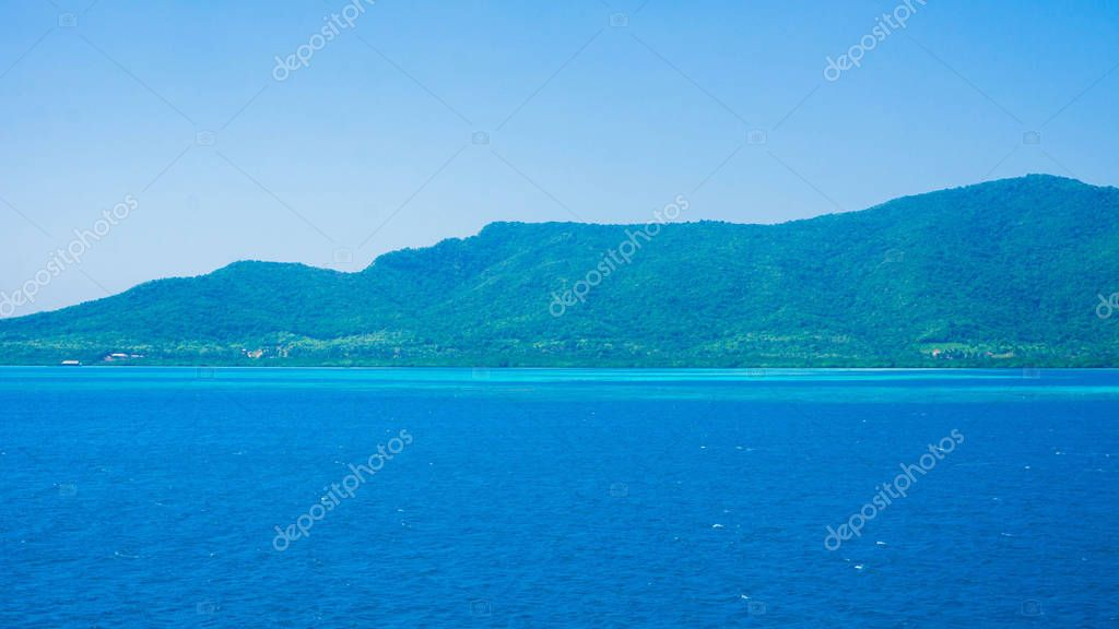 karimun jawa island with wide and spacious deep blue sea and clear sky in tropical island indonesia