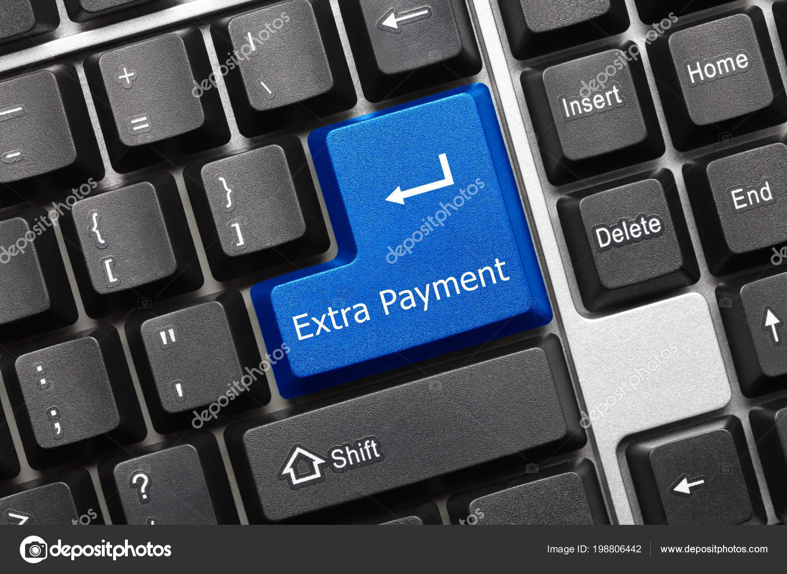 close view conceptual keyboard extra payment blue key stock photo