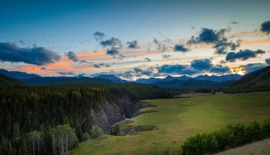 The sheep river in Kananaskis in the Canadian Rocky Mountains at sunset