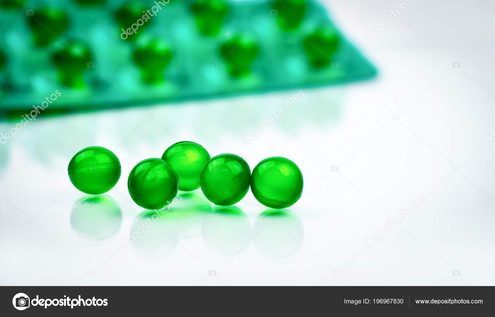 Green Soft Capsule Pills Blurred Background Blister Pack Space