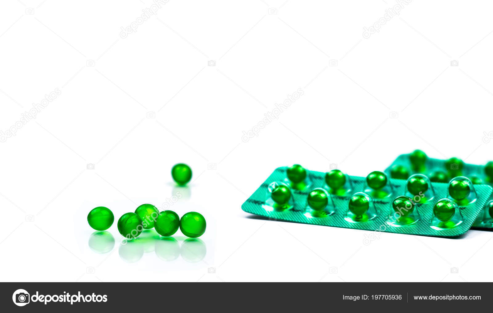 Green Soft Capsule Pills Isolated White Background Copy Space