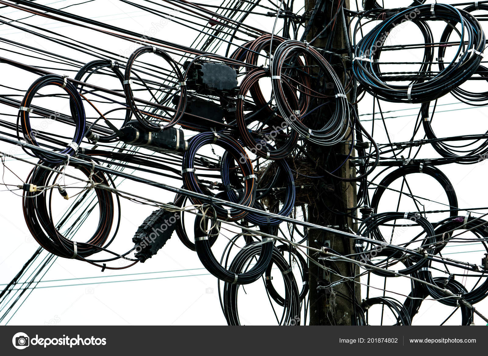 Tangled Electrical Wires Urban Electric Pole Disorganized Messy Wiring Organization Management Stock Photo