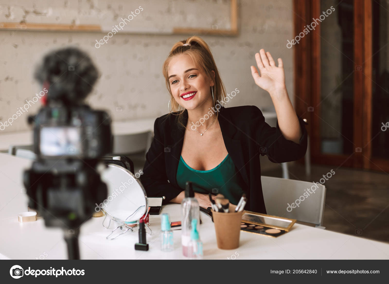 Young Smiling Beauty Blogger Happily Waving Camera Recording New