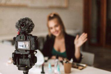 Close up professional black camera recording new video blog