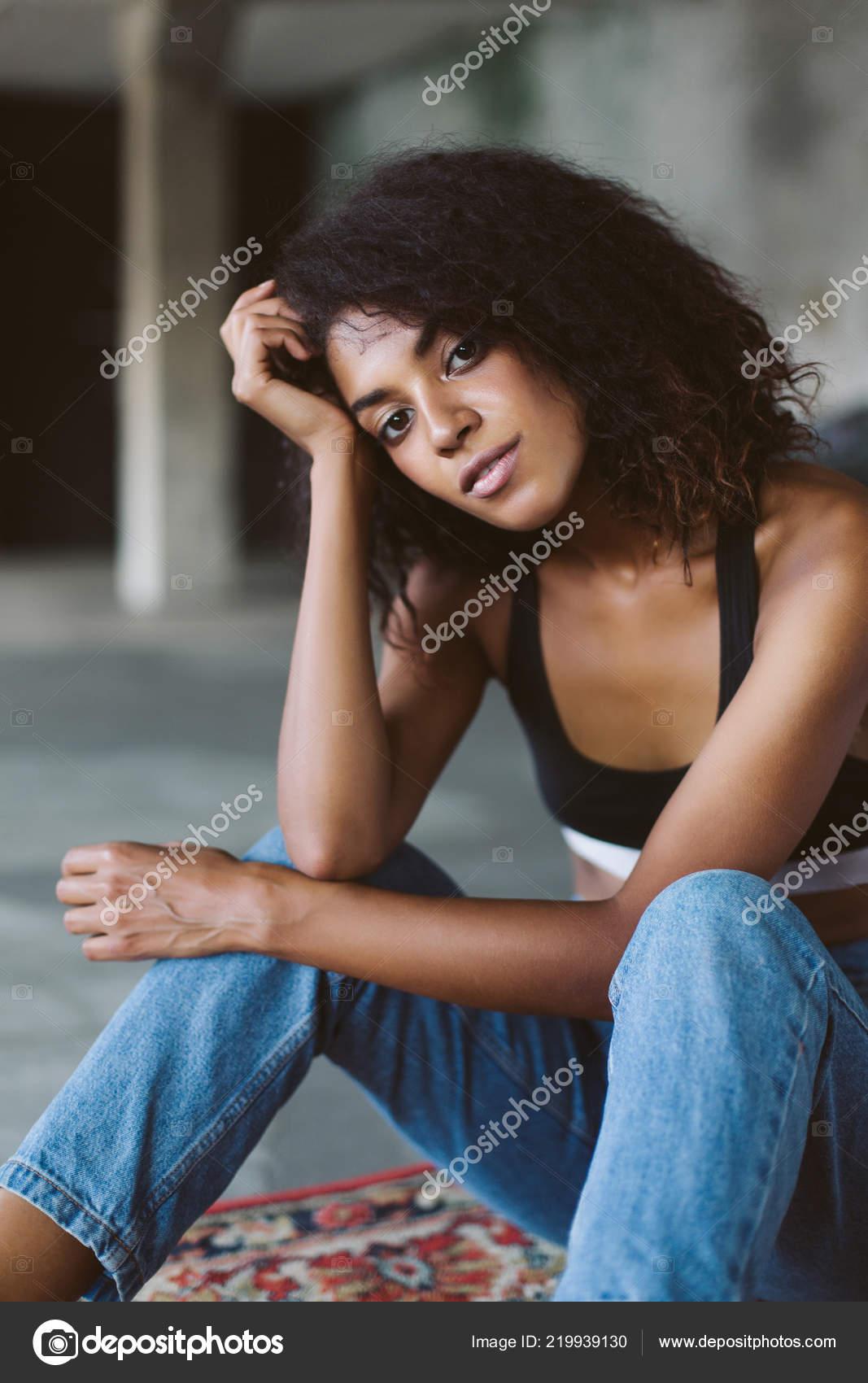 Superb Beautiful African American Girl Dark Curly Hair Black Sporty Top Natural Hairstyles Runnerswayorg