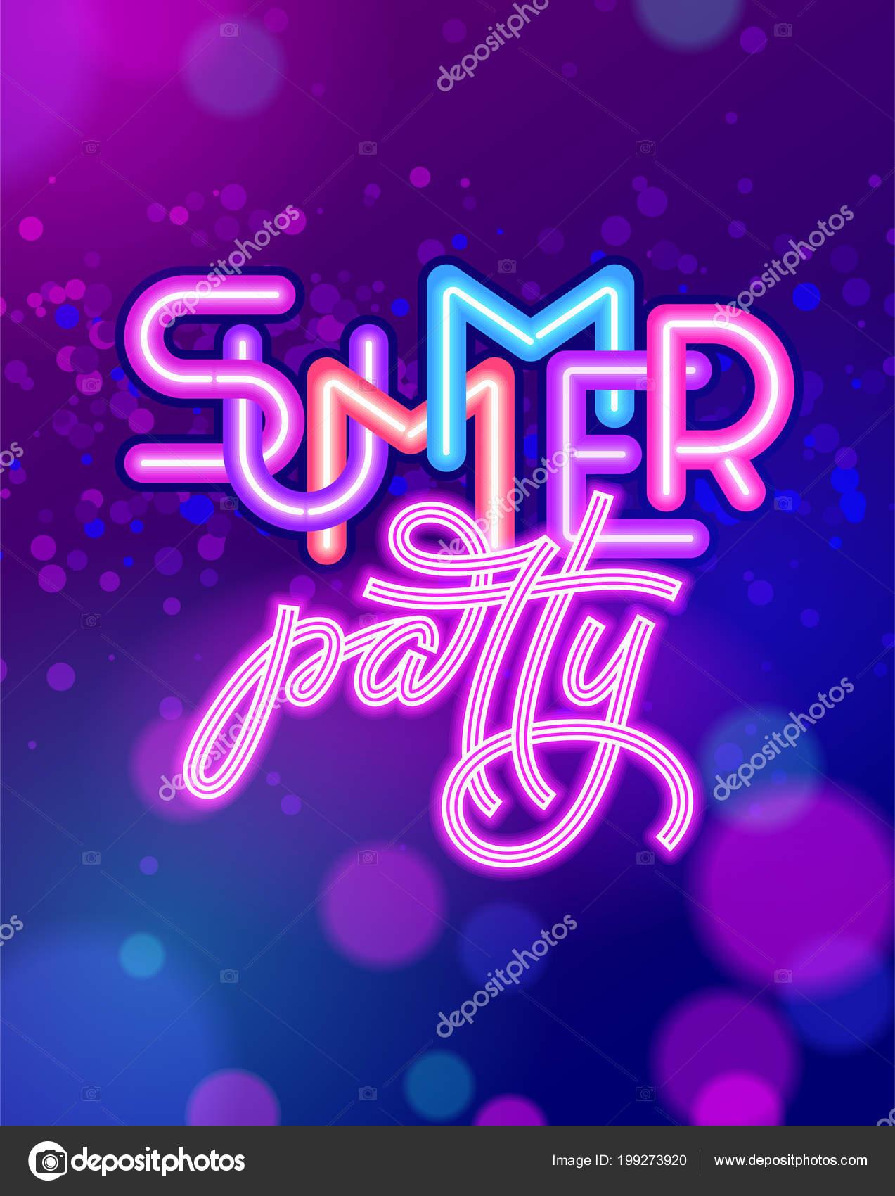 115858f99e88 Invitaciones neon party para imprimir   Fiesta de verano letras ...