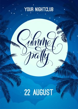 Summer party lettering with night sky, moon and palm tree. Vector template for poster, flyer, invitation, print, banner. Banner with modern calligraphy. Poster for night club party.