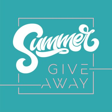 Giveaway banner for summer contests in social media. Vector template for banner, poster, flyer, ad, print design. Vector illustration.