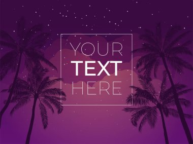 Tropical banner with palm tree and night sky and copy space. Vector template with place for your text for poster, banner, invitation. Vector illustration. EPS10