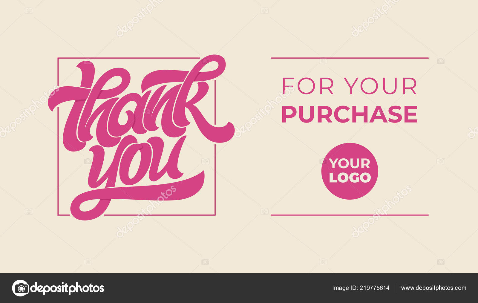 thank you for your purchase lettering logo with massage vector