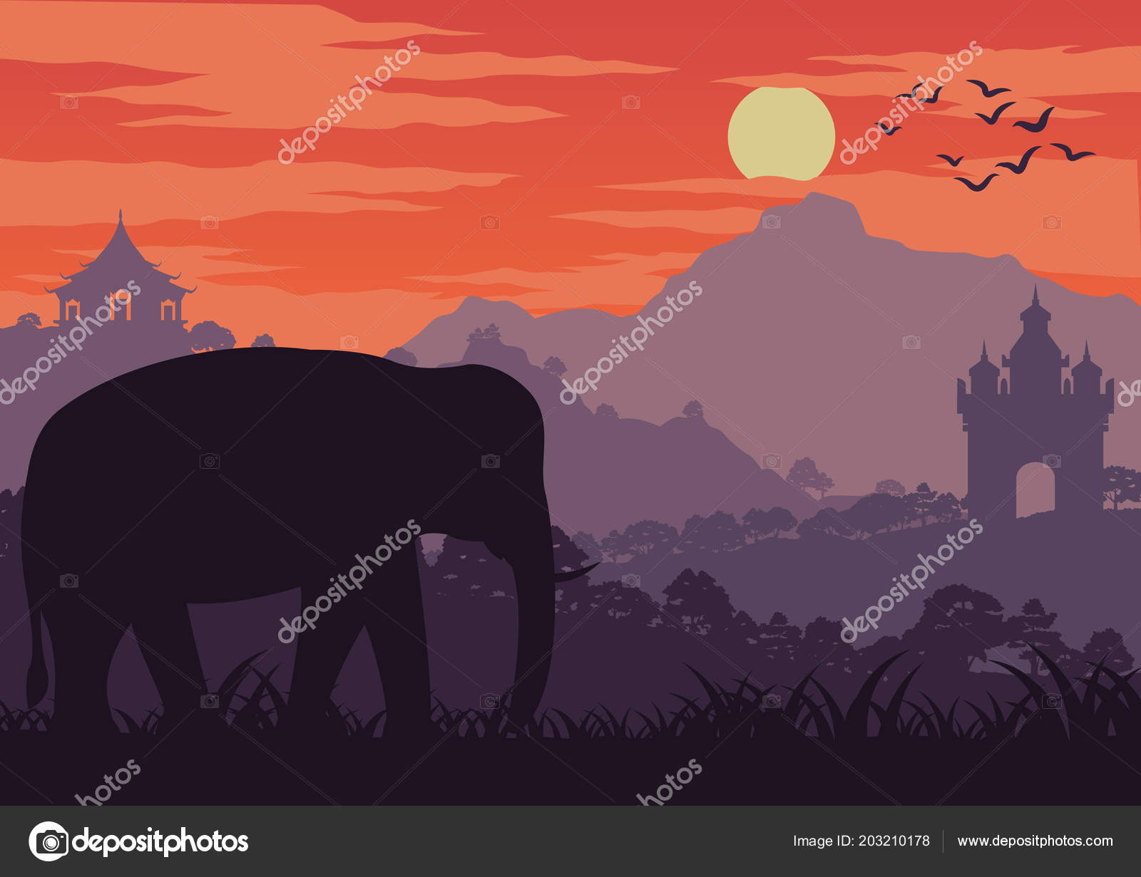 Morning Life Elephant Symbol Thailand Laos Walk Wood Landmark