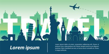 world  top famous landmark silhouette style,travel text within,trip and tourism,vector illustration