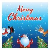 santa,  snowman and deer surprise everyone in xmas festival,cartoon version,vector illustration