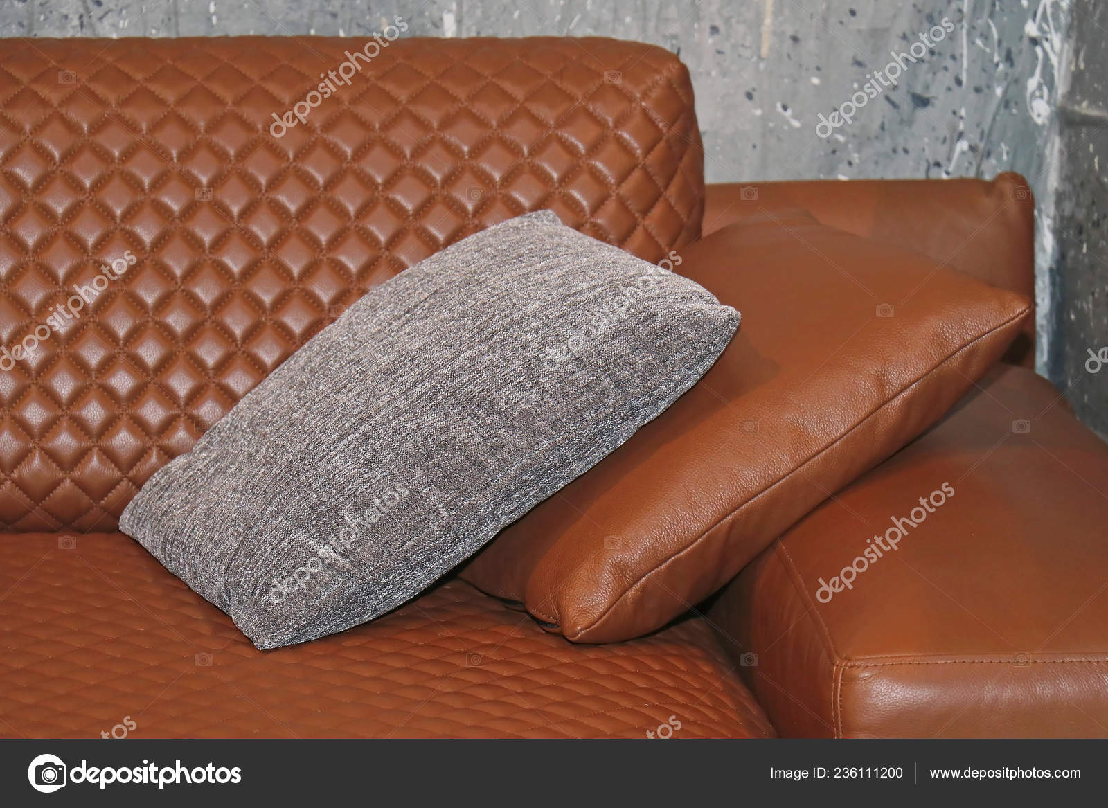 Decorative Pillows For Brown Leather Sofa  from st4.depositphotos.com