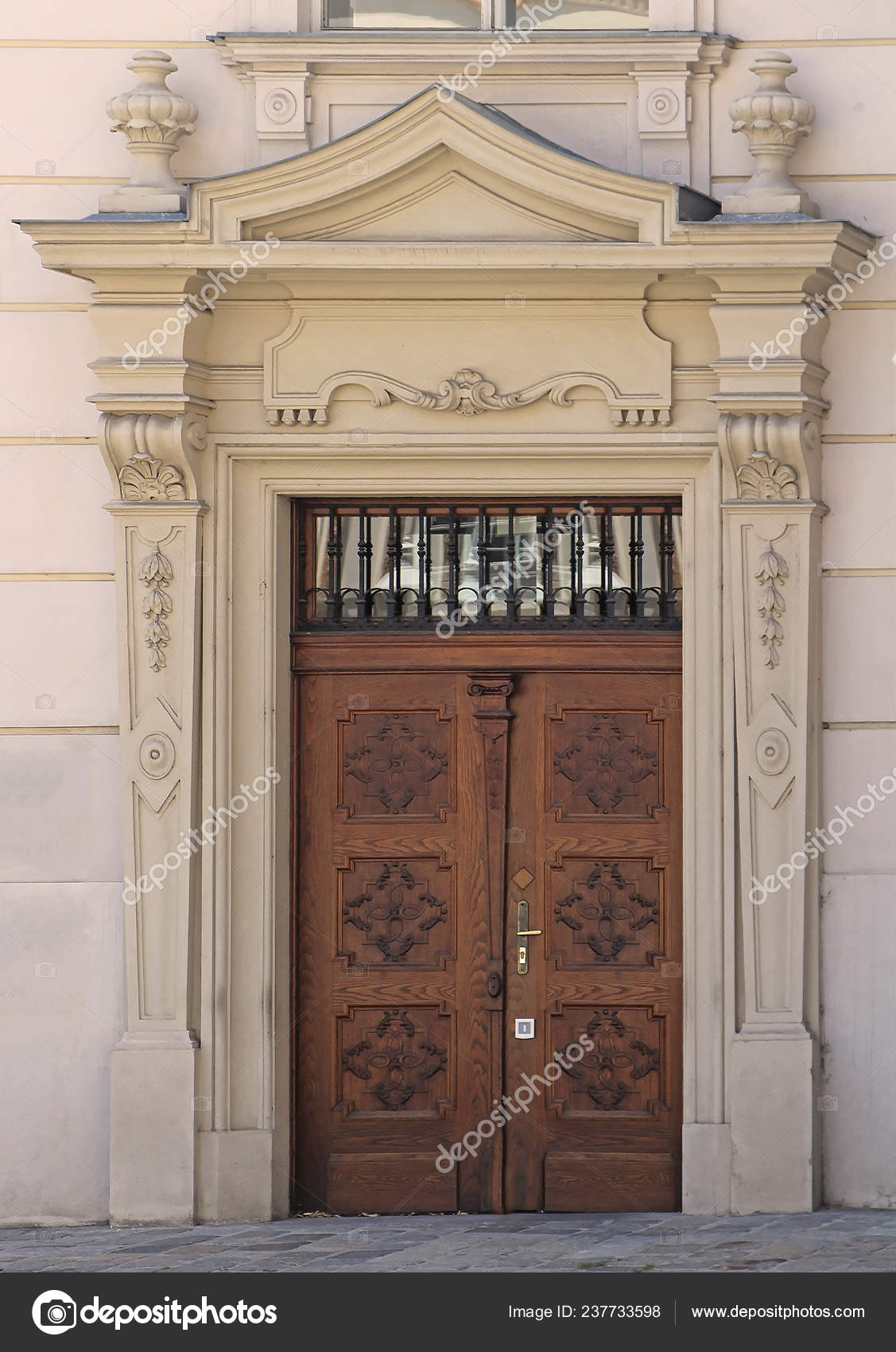 Vintage Wooden Closed Entrance Door Decorative Stone Facade