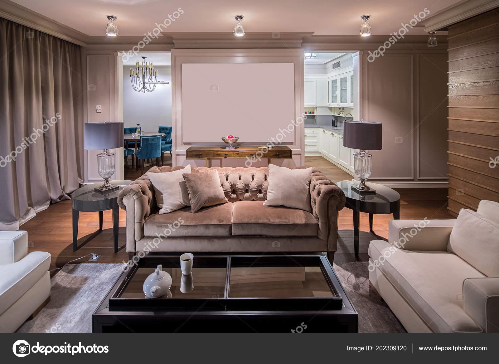 Interieur Einem Modernen Stil Mit Hellen Wänden Und Das Parkett