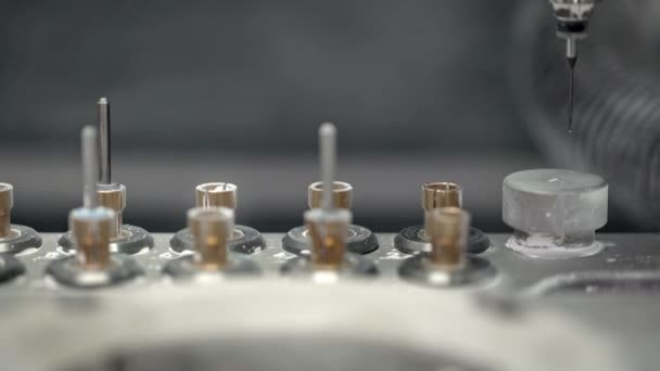 Closeup view at moving hi-speed spindle of dental milling machine