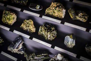 3 SEPTEMBER 2018, VIENNA, AUSTRIA: Collection of minerals of stones and metals Museum of Natural History, Vienna.