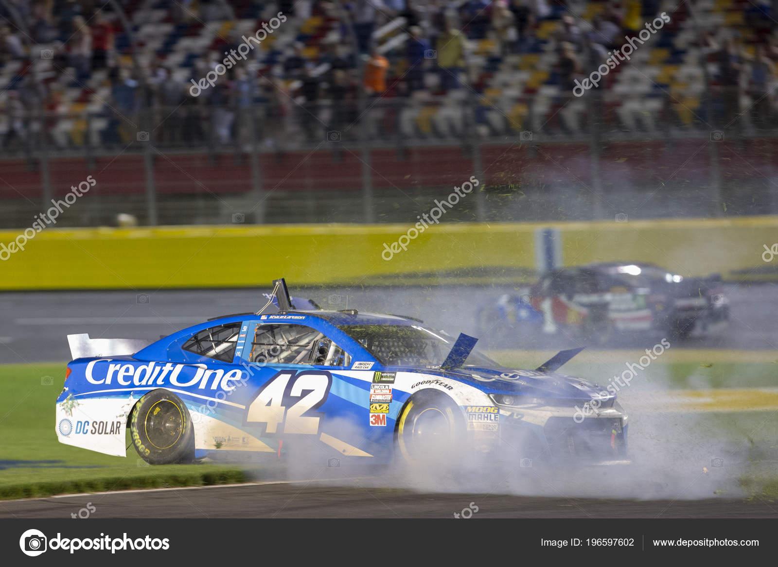 May 2018 Concord North Carolina Usa Kyle Larson Wrecks Monster Stock Photo