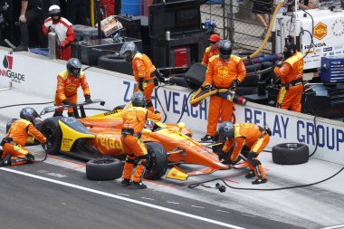 May 27, 2018 - Indianapolis, Indiana, USA: ZACH VEACH (26) of the United Stated comes down pit road for service during the Indianapolis 500 at the Indianapolis Motor Speedway in Indianapolis, Indiana.