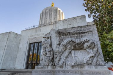 October 12, 2018 - Salem, Oregon, USA:  The Oregon State Capitol is the building housing the state legislature and the offices of the governor, secretary of state, and treasurer of the U.S. state of Oregon. It is located in the state capital, Salem.