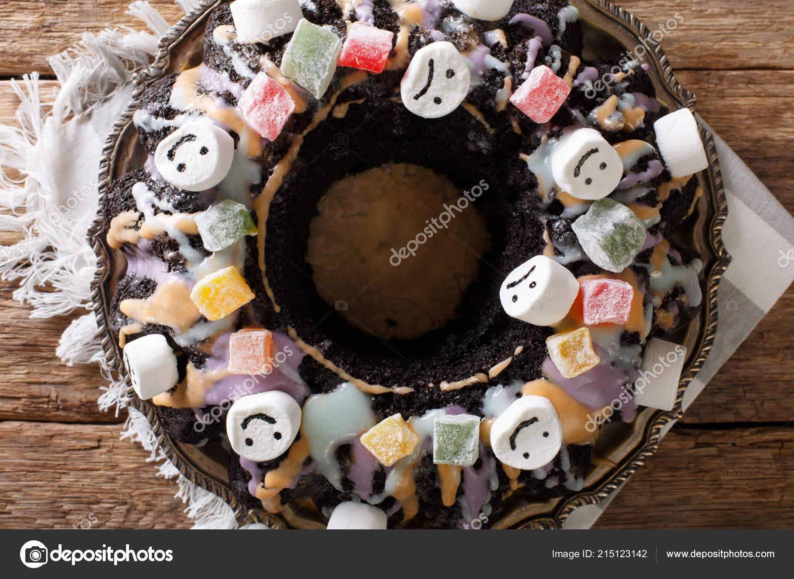 homemade halloween chocolate bundt cake candied fruits marshmallow