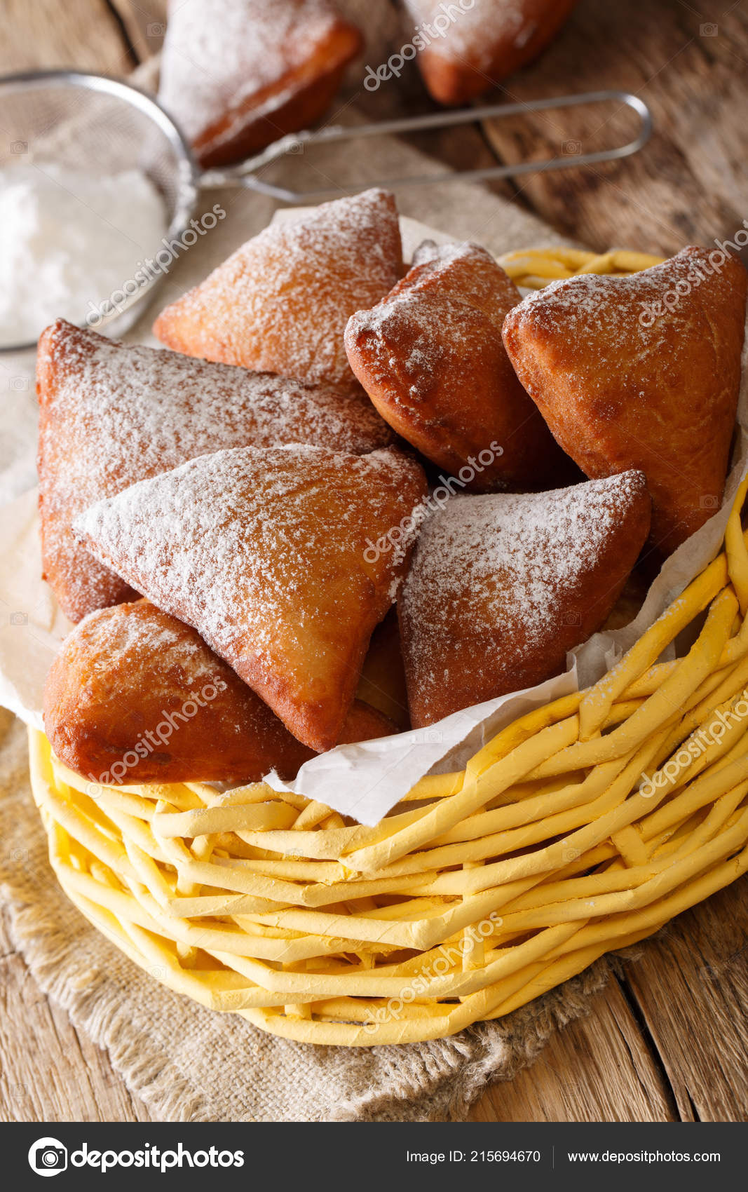 East African Mandazi Dabo Donuts Powdered Sugar Close Basket Table Stock Photo Image By C Lenyvavsha 215694670